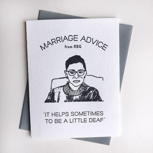 RBG Marriage Advice Card