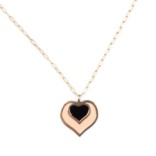 Ella Heart Charm Necklace - Peach & Black