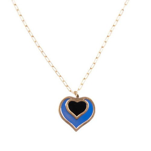 Ella Heart Charm Necklace - Ultramarine & Black