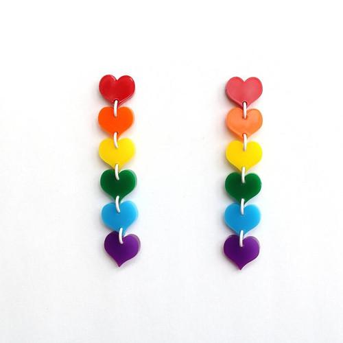 Ascending Rainbow Heart Earrings