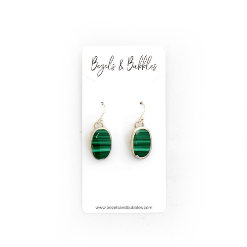 Oval Malachite Earrings