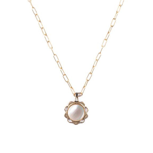 Mother Of Pearl Scalloped Charm Necklace