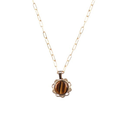 Tiger's Eye Scalloped Charm Necklace