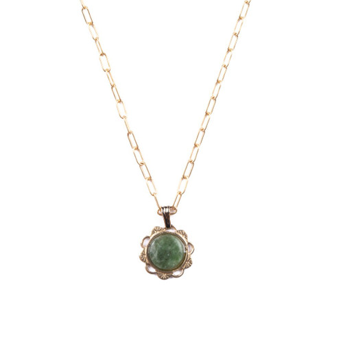 Wyoming Jade Scalloped Charm Necklace