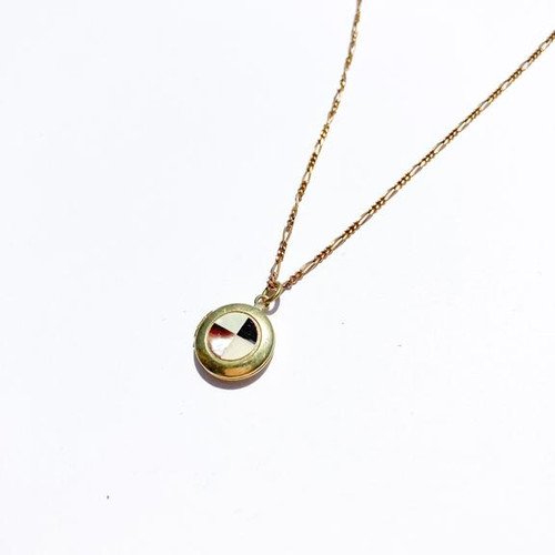 Checkered Shell Locket Necklace