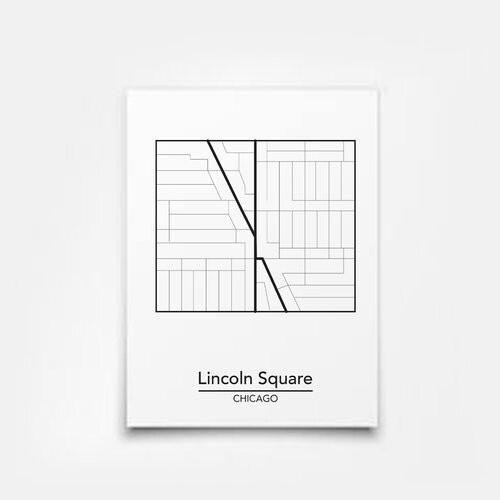 Lincoln Square Map 5x7