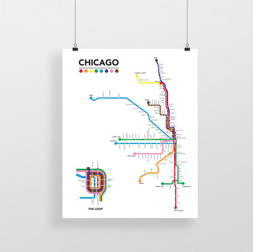 Labeled Chicago Transit 8x10