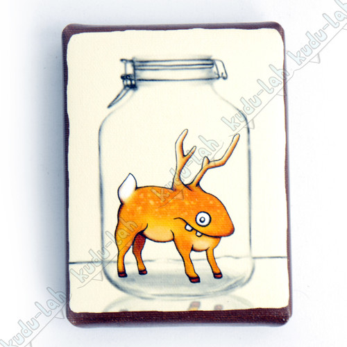Derblin Mason Jar Critter Print On Canvas