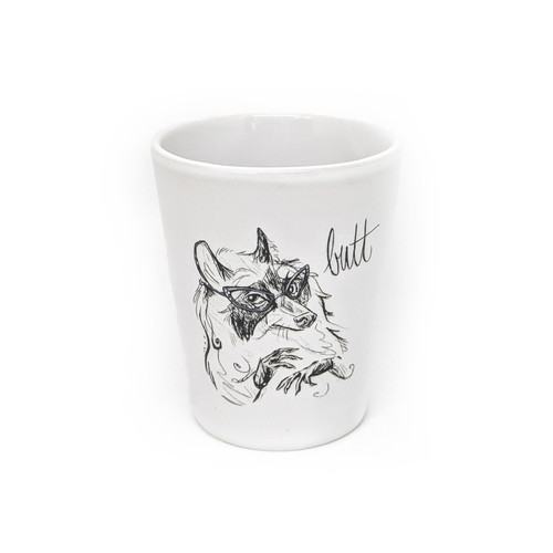 This shot glass holds two ounces, so watch out! You may be cursin' like a raccoon faster than you realize.