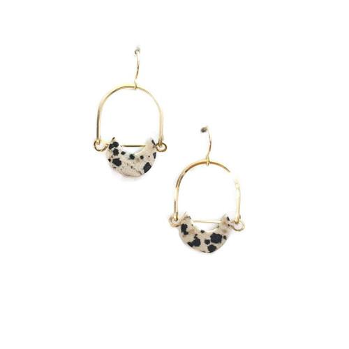 Dalmatian Jasper Mini Eclipse Earrings