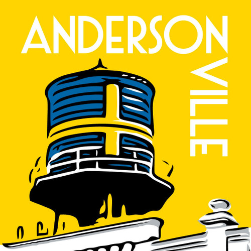 Andersonville's landmark water tower displays a Swedish flag, signifying the neighborhood's Swedish roots.