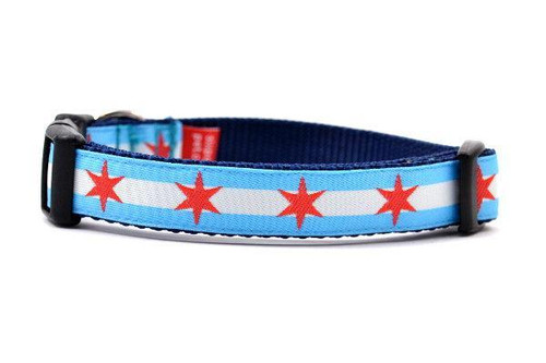 Chicago Flag Dog Collar - Sm
