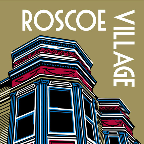 "Roscoe Village is known as the ""village within the city"" featuring historic buildings and shops along Roscoe Street."