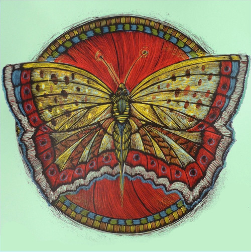 The Butterfly, long a symbol of resurrection in both Egyptian and Christian Folklore is presented here in bold colors to hopefully beckon good weather and glad tidings.