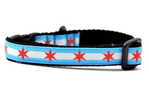 Chicago Flag Dog Collar - XXS