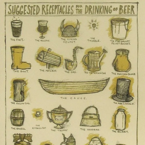 Serious print depicting the various ways of consuming fine beer and ales.