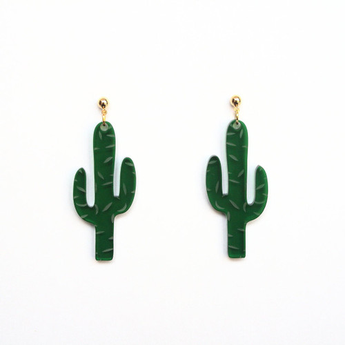 Acrylic Cactus Earrings
