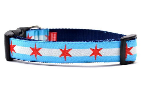 Chicago Flag Dog Collar - Med