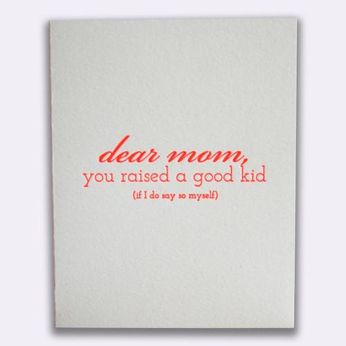 Mom Good Kid Card
