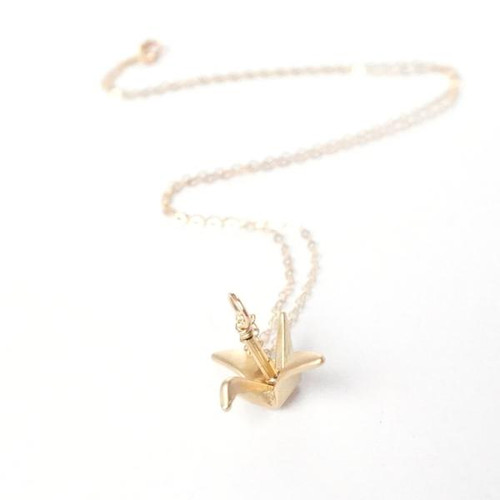 Origami Crane Necklace Gold