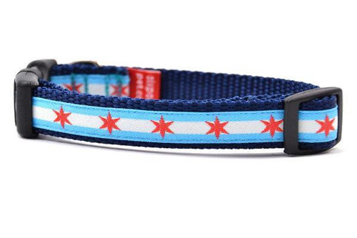 Chicago Flag Dog Collar - XS