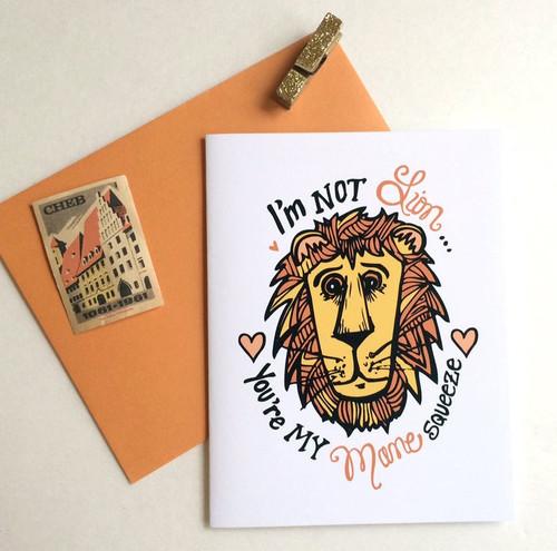 I'm Not Lion Valentine's card