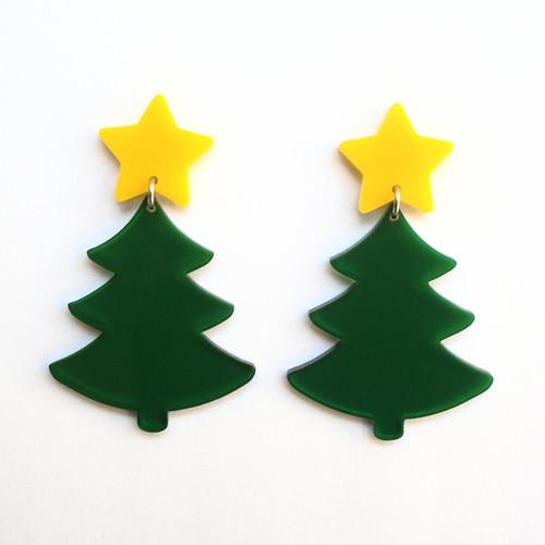 Acrylic Xmas Tree Earring