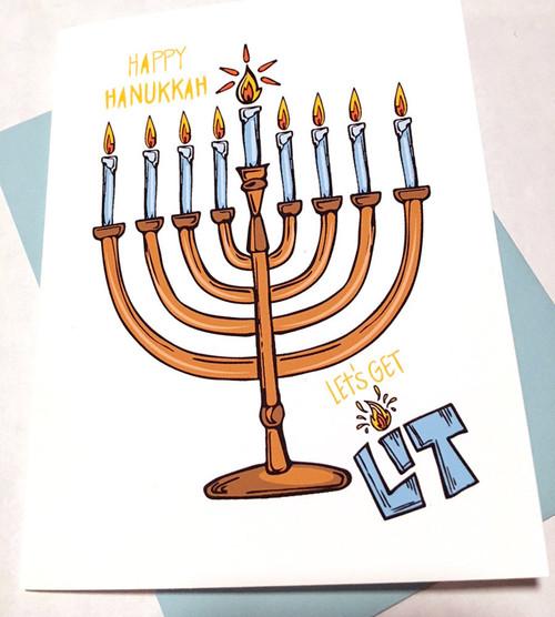 Lit Hanukkah Card