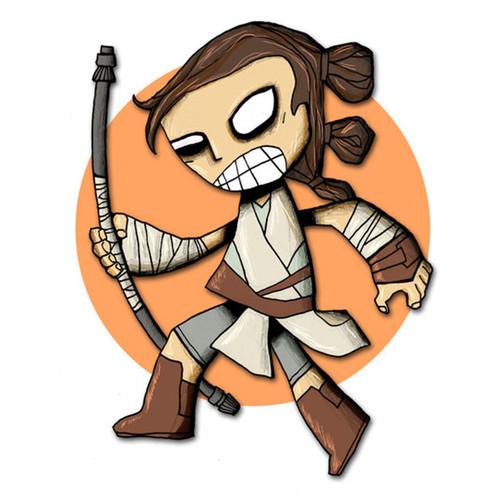 Rey Star Wars Force Awakens Art Print Drawing