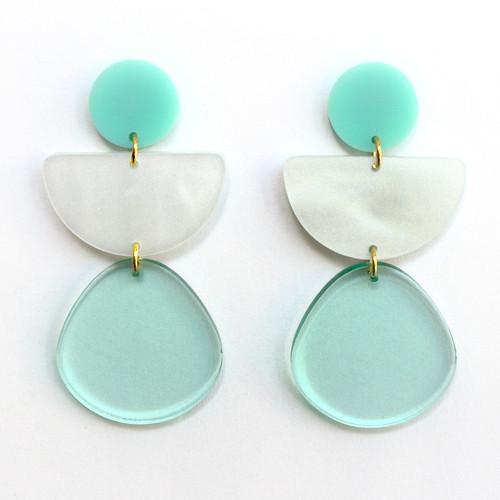 Teal and White Geometric Half Circle Earrings