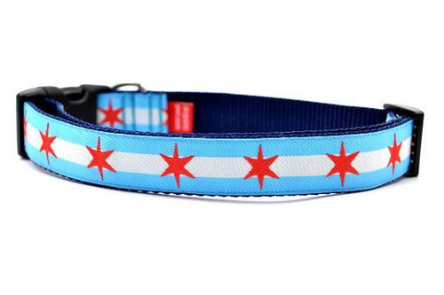 Chicago Flag Dog Collar - Large