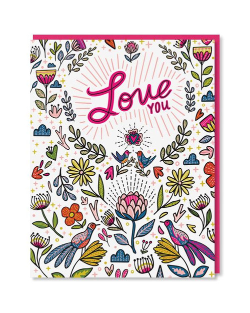 Bright Floral Love You Card
