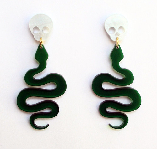 Acrylic Skull and Snake Dangle Earrings