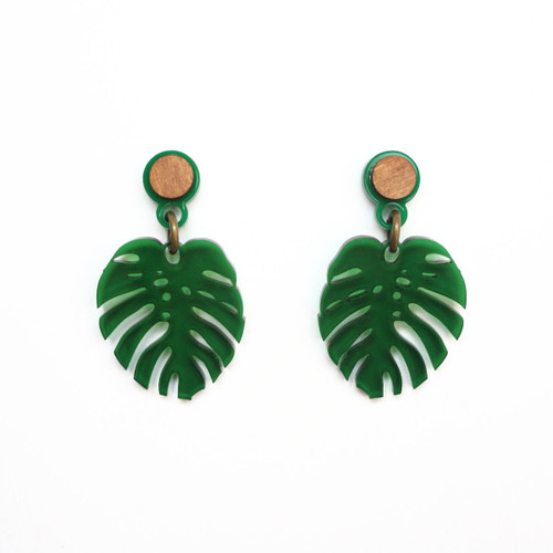 Acrylic Monstera Leaf Earring
