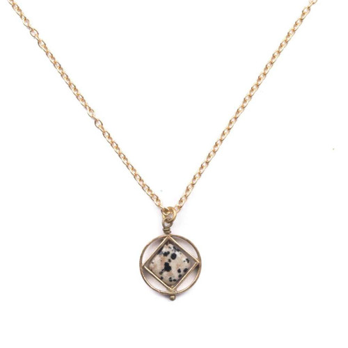 Dalmatian Jasper Mini Theorem Necklace