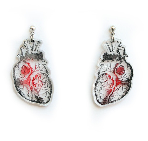 Clear Acrylic Anatomical Heart Earrings