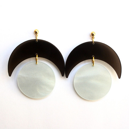 Acrylic Smoke and White Eclipse Dangle Earrings