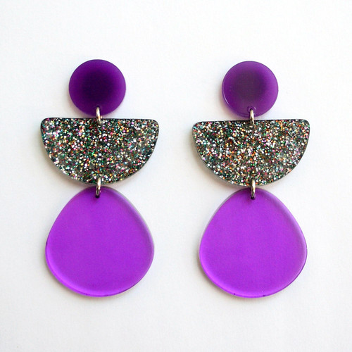 Purple Sparkle Geometric Half Circle Earrings