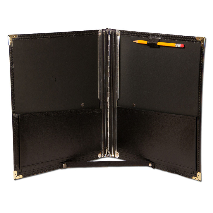 Choral folder with bottom strap, pencil holder and elastic cords to hold music