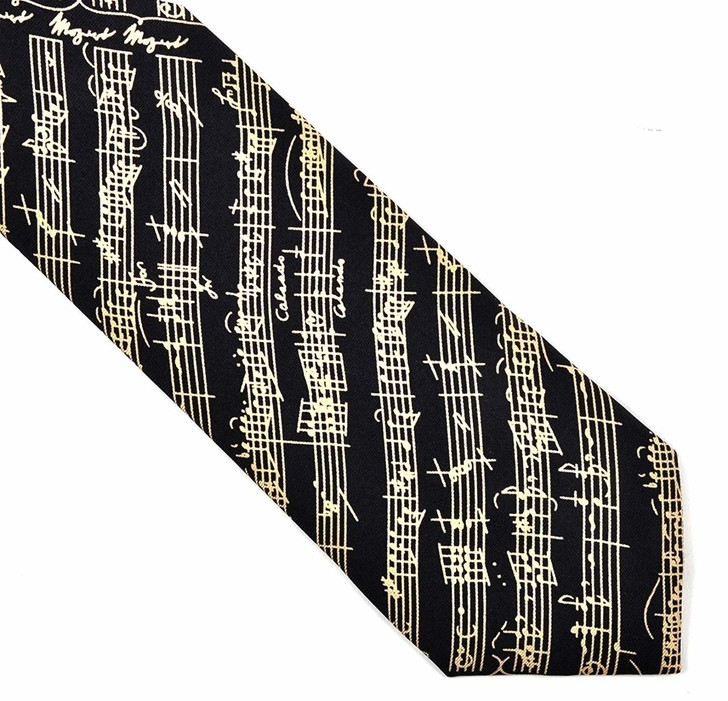 Mozart Silk Tie - Black & Cream