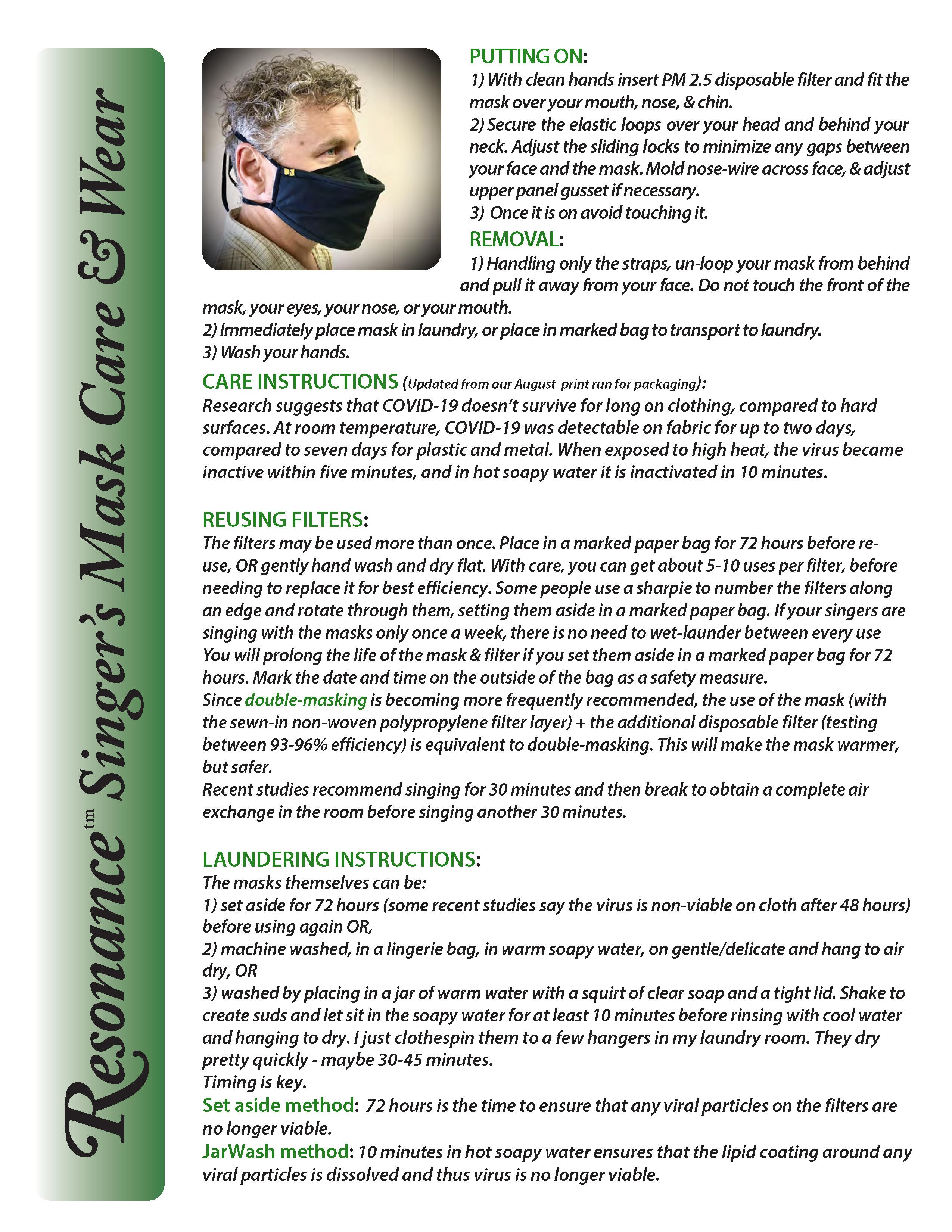 Mask Wear & Care Information