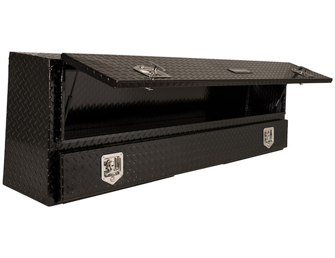 "1725650 BUYERS PRODUCTS BLACK DIAMOND TREAD ALUMINUM CONTRACTOR TRUCK TOOL BOX 21""HX13.5""DX88""W"