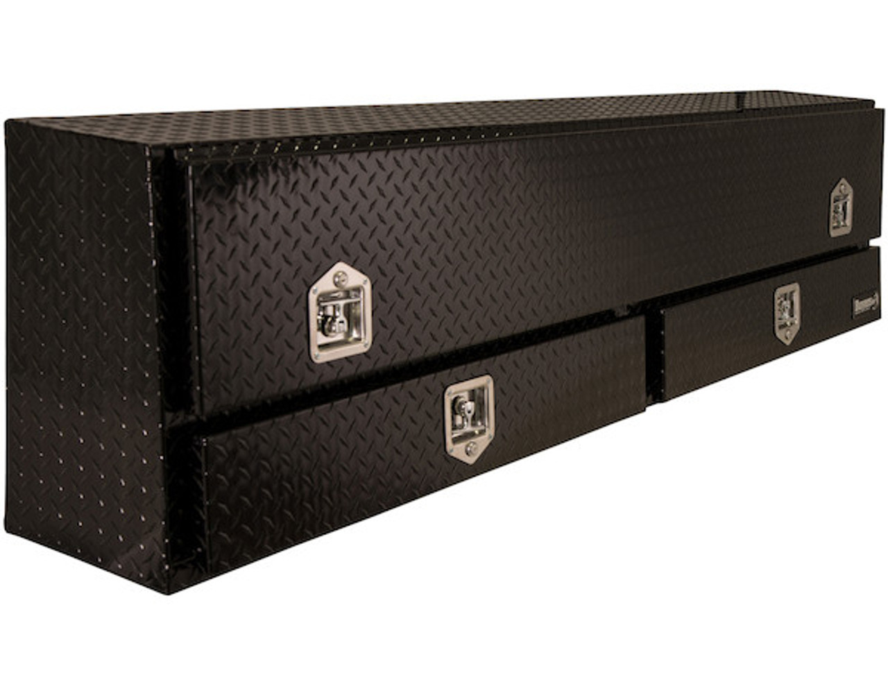 "1725651 BUYERS PRODUCTS BLACK DIAMOND TREAD ALUMINUM CONTRACTOR TRUCK BOX WITH LOWER DRAWERS 21""HX13.5""DX88""W"