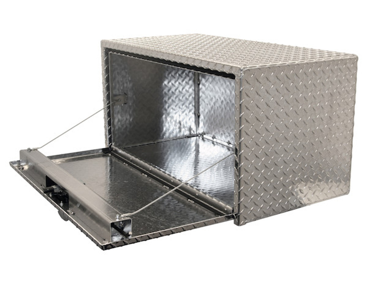 "1735100 BUYERS PRODUCTS DIAMOND TREAD ALUMINUM UNDERBODY TRUCK BOX WITH 3-PT. LATCH TOOLBOX 18""Hx18""Dx24""W"
