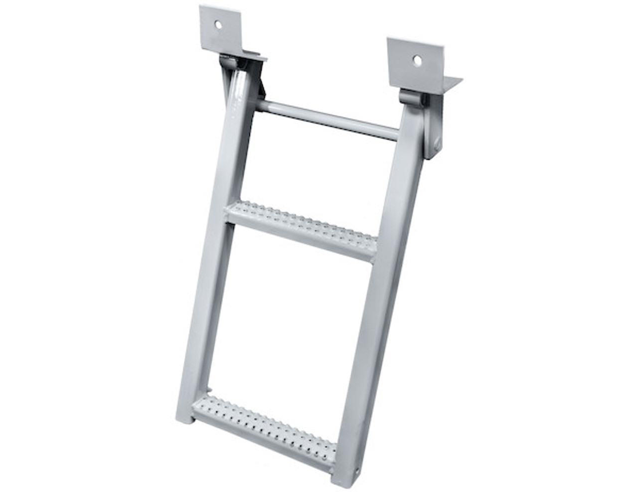 RS2W Buyer's 2-Rung White Retractable Truck Steps With Nonslip Tread - 17.38 X 30.25 Inch