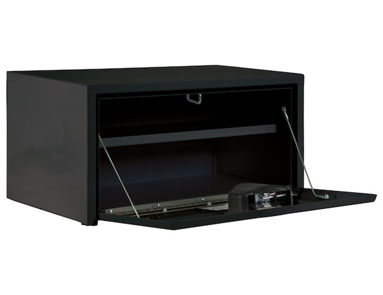 "1703304 BUYERS PRODUCTS BLACK STEEL UNDERBODY TRUCK TOOL BOX WITH BUILT-IN SHELF 14""HX16""DX30""W Picture # 2"
