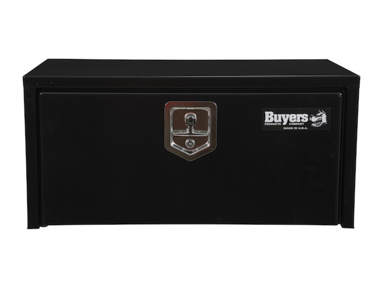 "1703304 BUYERS PRODUCTS BLACK STEEL UNDERBODY TRUCK TOOL BOX WITH BUILT-IN SHELF 14""HX16""DX30""W Picture # 1"