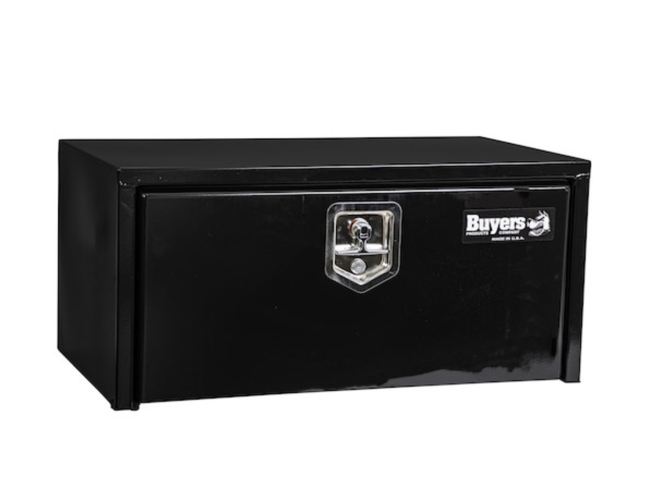 "1703304 BUYERS PRODUCTS BLACK STEEL UNDERBODY TRUCK TOOL BOX WITH BUILT-IN SHELF 14""HX16""DX30""W Picture # 7"