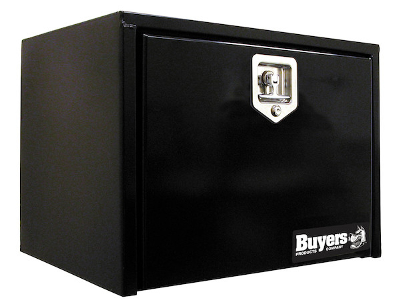 """1703321 BUYERS PRODUCTS BLACK STEEL UNDERBODY TOOLBOX WITH T-LATCH 15""""HX13""""DX18""""W"""