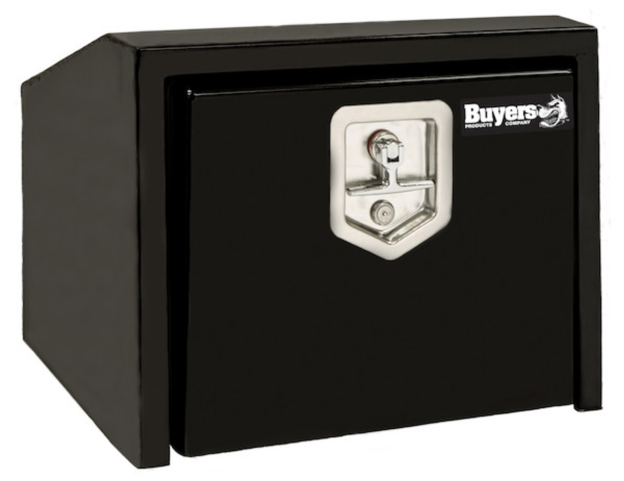 """1703355 BUYERS PRODUCTS BLACK STEEL UNDERBODY TRUCK TOOLBOX WITH SLANTED BACK 14""""HX12""""DX30""""W"""